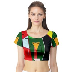 Abstract lady Short Sleeve Crop Top (Tight Fit)