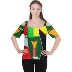 Abstract lady Women s Cutout Shoulder Tee