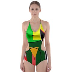 Abstract lady Cut-Out One Piece Swimsuit