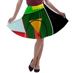 Abstract lady A-line Skater Skirt