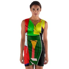 Abstract lady Wrap Front Bodycon Dress