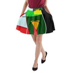 Abstract lady A-Line Pocket Skirt