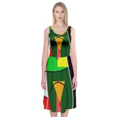 Abstract lady Midi Sleeveless Dress