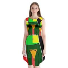 Abstract lady Sleeveless Chiffon Dress