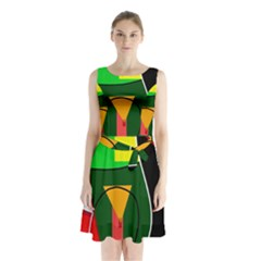 Abstract lady Sleeveless Chiffon Waist Tie Dress
