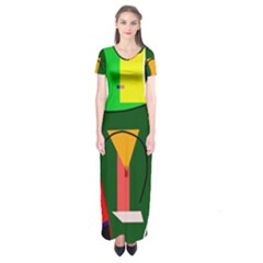 Abstract lady Short Sleeve Maxi Dress