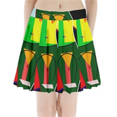 Abstract lady Pleated Mini Skirt