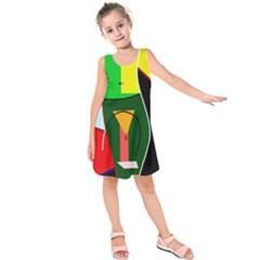 Abstract lady Kids  Sleeveless Dress