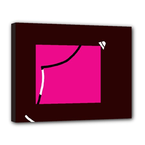 Pink square  Canvas 14  x 11