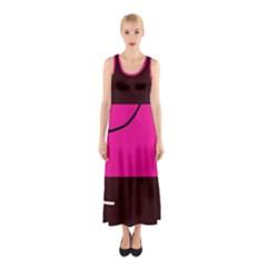 Pink square  Sleeveless Maxi Dress