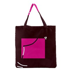 Pink square  Grocery Tote Bag