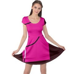 Pink square  Cap Sleeve Dresses