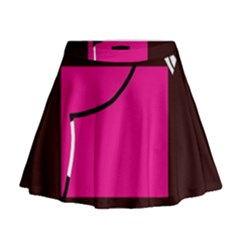 Pink square  Mini Flare Skirt
