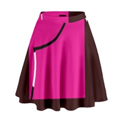 Pink square  High Waist Skirt