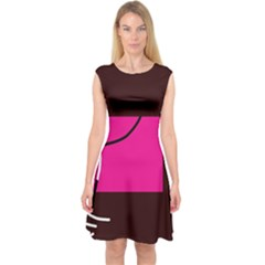 Pink square  Capsleeve Midi Dress