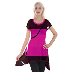 Pink Square  Short Sleeve Side Drop Tunic