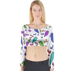 Birds and flowers Long Sleeve Crop Top