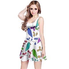 Birds and flowers Reversible Sleeveless Dress