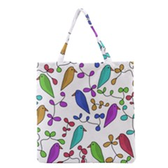 Birds and flowers Grocery Tote Bag