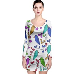 Birds and flowers Long Sleeve Bodycon Dress