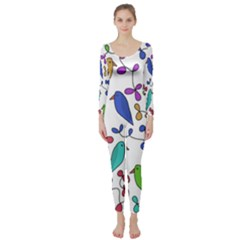 Birds and flowers Long Sleeve Catsuit