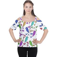 Birds and flowers Women s Cutout Shoulder Tee