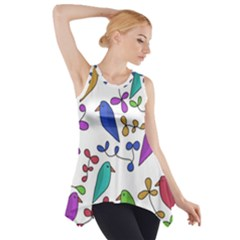 Birds and flowers Side Drop Tank Tunic