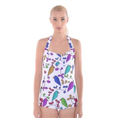 Birds and flowers Boyleg Halter Swimsuit