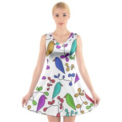 Birds and flowers V-Neck Sleeveless Skater Dress