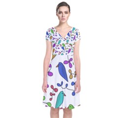 Birds and flowers Short Sleeve Front Wrap Dress