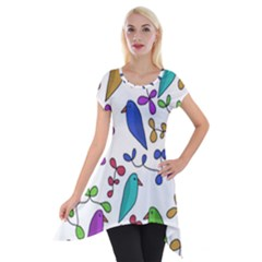 Birds And Flowers Short Sleeve Side Drop Tunic