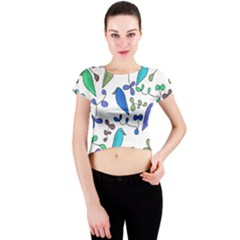 Birds and flowers - blue Crew Neck Crop Top