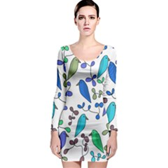 Birds and flowers - blue Long Sleeve Bodycon Dress