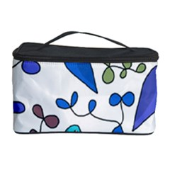 Birds and flowers - blue Cosmetic Storage Case