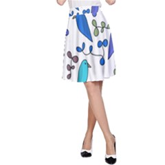 Birds and flowers - blue A-Line Skirt