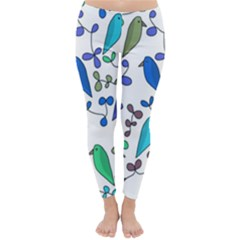 Birds and flowers - blue Classic Winter Leggings