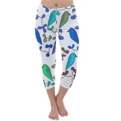 Birds and flowers - blue Capri Winter Leggings