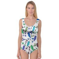Birds and flowers - blue Princess Tank Leotard
