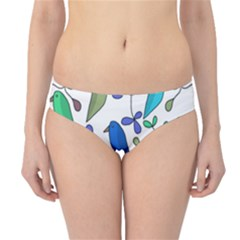 Birds and flowers - blue Hipster Bikini Bottoms