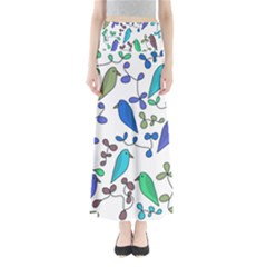 Birds and flowers - blue Maxi Skirts