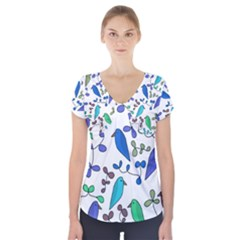 Birds and flowers - blue Short Sleeve Front Detail Top