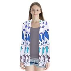 Birds and flowers - blue Cardigans