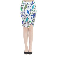 Birds and flowers - blue Midi Wrap Pencil Skirt