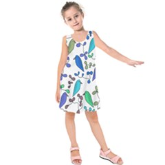 Birds and flowers - blue Kids  Sleeveless Dress