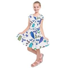 Birds and flowers - blue Kids  Short Sleeve Dress