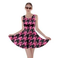 Houndstooth1 Black Marble & Pink Marble Skater Dress