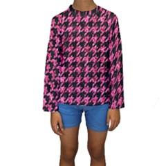 HTH1 BK-PK MARBLE Kids  Long Sleeve Swimwear