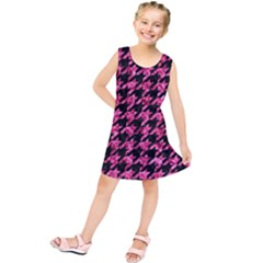 Houndstooth1 Black Marble & Pink Marble Kids  Tunic Dress