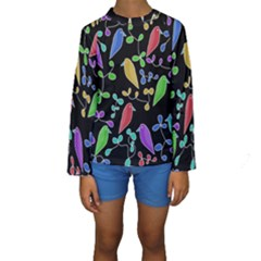 Birds and flowers 2 Kids  Long Sleeve Swimwear