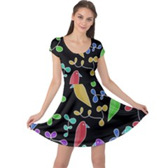 Birds and flowers 2 Cap Sleeve Dresses